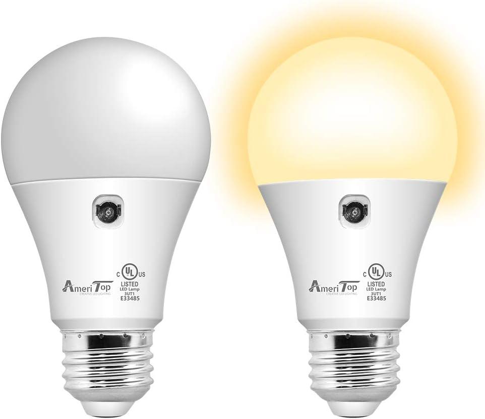Dusk to Dawn Light Bulb- 2 Pack, AmeriTop A19 LED Sensor Light Bulbs; UL Listed, Automatic On/Off, 800 Lumen, 10W(60 Watt Equivalent), E26 Base, 3000K Warm White, Indoor/Outdoor Lighting Bulb