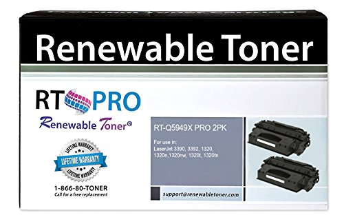 RT PRO 49X Q5949X High Yield Toner Cartridge Compatible for HP LaserJet 3390 3392 1320tn Printer Series (2 (Laserjet 3390 Series)
