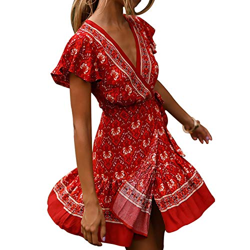 Byinns Casual Summer Dresses for Women Floral Print Bohe Dress Faux Wrap Mini Dress Tea Dress for Beach Party ( Size:US2-20 )