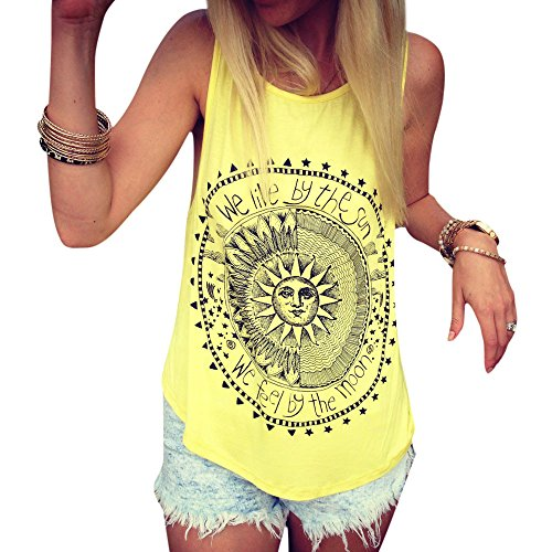 Aniywn Women Loose Sleeveless Vest Sun Printed Casual Round Neck Tunic Tank Tops (L, Yellow)