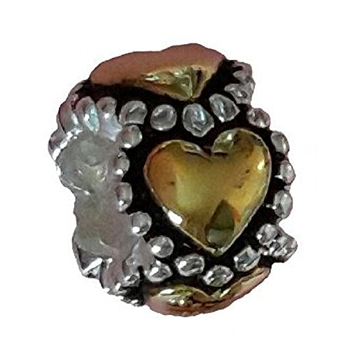 Loving Heart Sterling Silver & 9ct Gold Charm Bead - Fits European Charm - 9k Bracelet Heart