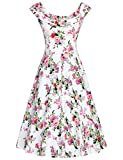 MUXXN Womens 1950s Scoop Neck Off Shoulder Cocktail Dress(S,Peony Pink)