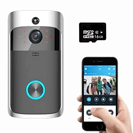 Wifi Video Timbre 720P Smart Home Security Camera 16G Tarjeta SD, Registro Gratuito En La