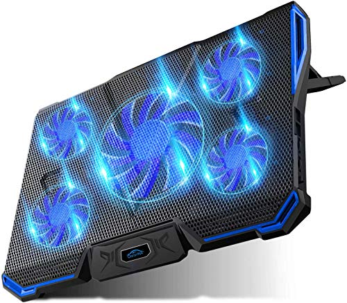 Carantee Laptop Cooling Pad 5 Quite Fans Notebook Cooler Pad USB Powered, 7 Level Adjustable Mount Stands