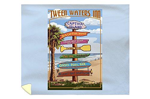 Lantern Press Captiva Island, Florida - Destinations Signpost 46696 (88x104 King Microfiber Duvet Cover)