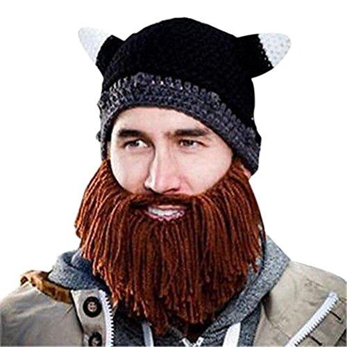Elevin(TM) Men Women Kid Beard Wig Hats Handmade Knit Warm Winter Beanie Caps (H) (Gold Sequin Fedora Adult Hat)