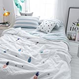 YU&AN Simple Quilt,Bed Linings,Anti-Wrinkle Hypoallergenic Bed Cover Suitable for Spring Summer Autumn-A 180x200cm(71x79inch)