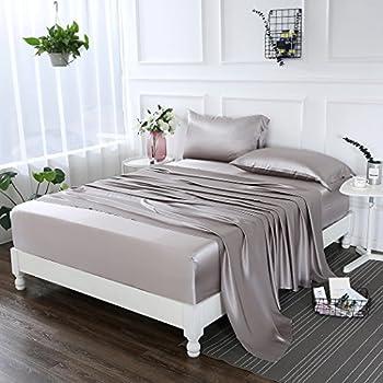 ZIMASILK 4 Pcs 100% Mulberry Silk Bed Sheet Set ,All Side 19 Momme Silk ( Queen, Silver Grey)