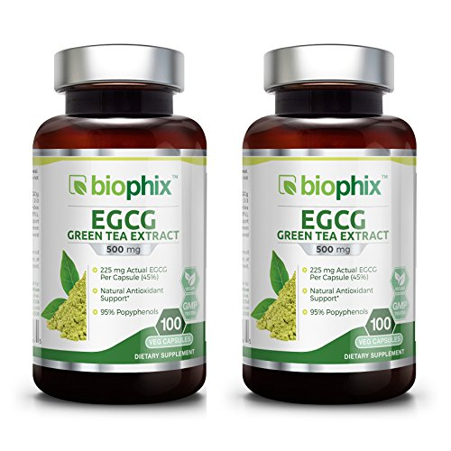 225 Mg 250 Capsules - Green Tea Extract EGCG 500 mg 100 Vcaps 2 Pack - Weight Loss | Free Radical Scavenger | Boost Metabolism | Heart Health | Natural Caffeine | Gentle Antioxidant | Energy
