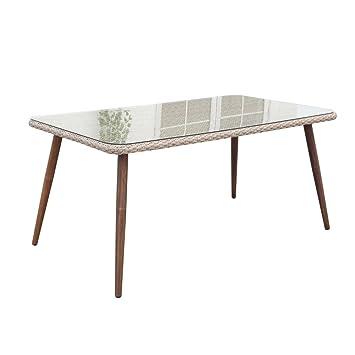 SiBrand Evergreen Table en Aluminium 160 x 90 cm avec Verre ...