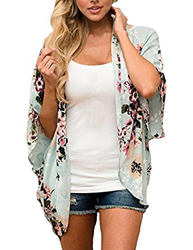 Women Short Sleeve Floral Cardigan Chiffon Printed Casual Kimono Coat Blouse Fashion Summer Tops Size S