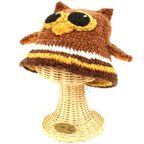 San Diego Hat Company Cotton Chenille Owl Beanie Brown, 1-2 Years