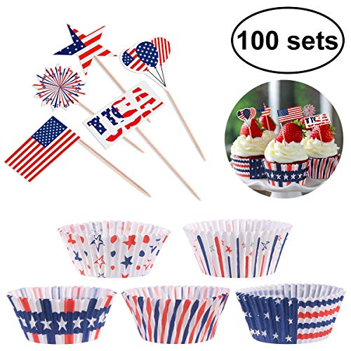 4th of July Decorations Cupcake Toppers with Liners, Patriotic Decorations Party Supplies Independence Day Party Supplies -200 Piece