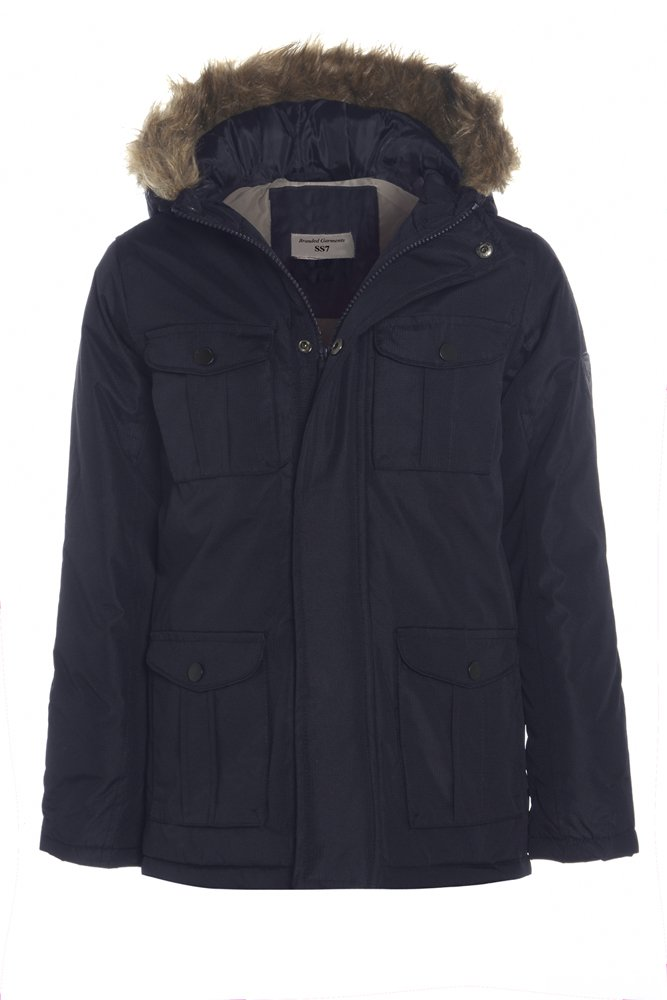 SS7 New Boys Showerproof Parka Coat, Navy, Ages 7 To 13