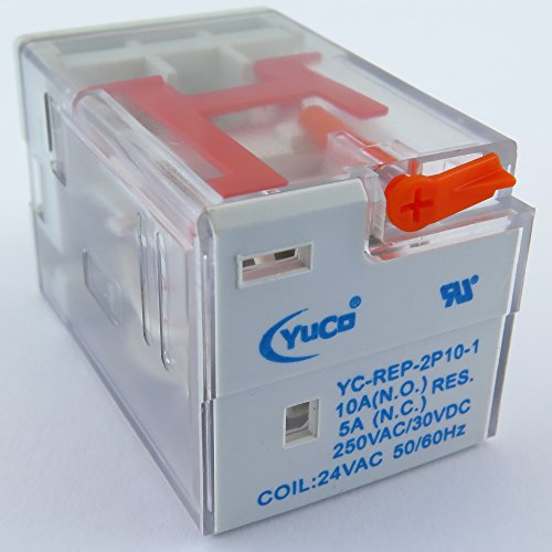 Coil 10 Amp Relay - YC-REP-2P10-1 YuCo ICE CUBE GENERAL PURPOSE RELAY OCTAL BASE 8PIN 2PDT 10AMP 24VAC 50/60HZ AC-COIL
