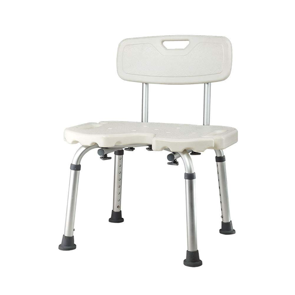 BEAUTY--shower stool,Elderly Bath Chair with Detachable Backrest,Pregnant Women Anti-Slip Bath Stool,8 Height Adjustable