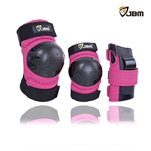 JBM Adult / Child Knee Pads Elbow Pads Wrist Guards 3 In 1 Protective Gear Set For Multi Sports Skateboarding Inline Roller Skating Cycling Biking BMX Bicycle Scooter (Bicycle Roller)