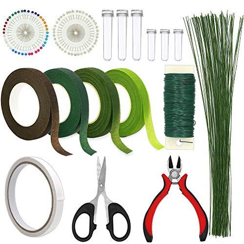 Floral Arrangement Kit, WEST BAY 11Pack Flower Tools Include Floral Wire Cutter Scissor Floral Tape 22 Gauge Paddle Wire 26 Gauge Stem Wire Pearl Corsage Pin Bouquet Stem Wrap Florist
