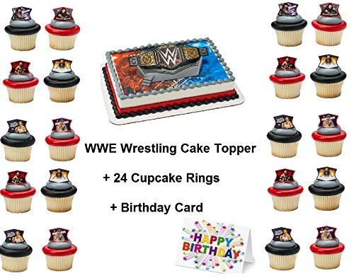 WWE Wrestling Cake Topper Set Cupcake 24 Pieces Birthday Supplies Favors Goodies Plus Birthday Card Cena 27 Pieces ()