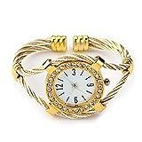 SODIAL(R) Gold Tone Rope Lady Rhinestone Wrist Watch Bangle Bracelet Cuff