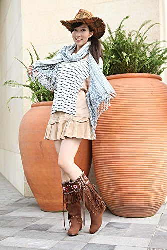 Kitzen Women Thigh High Boots Over Knee Boots Large Size Fashion Brown Embroidered Tassel Cowhide Knight Boots Ladies High Heels Shoes Wedding Party Brown VXsh28h