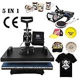 Tengchang 5 in 1 Heat Press Machine Digital Transfer Sublimation T-Shirt Mug Hat Plate Cap 15 x 12''