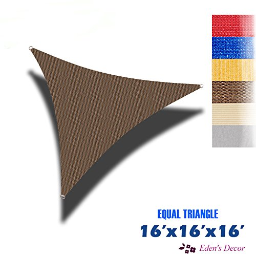Eden's Decor Triangle 16' X 16' X 16' Brown Sun Shade Sail UV Block Fabric for Patio Outdoor and Swimming Pool