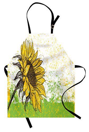 Ambesonne Nature Apron, Floral Print with Sunflowers in a Field Summer Garden Sketchy Abstract Detail Image, Unisex Kitchen Bib Apron with Adjustable Neck for Cooking Baking Gardening, Multicolor