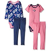 Gerber Baby 4 Piece Bodysuit and Pant Set, Bouquet, 0-3 Months