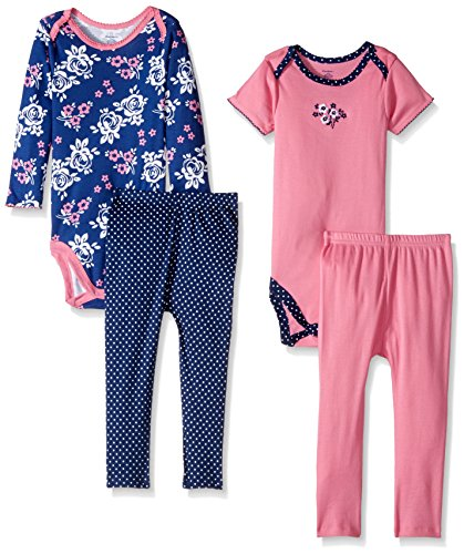 Gerber Baby 4 Piece Bodysuit and Pant Set, bouquet, 3-6 Months