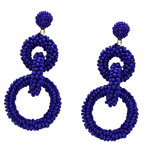 Prettyia 1 Pair Seed Beads Earrings Link Round Circle Dangle Drop Statement Earrings - Blue