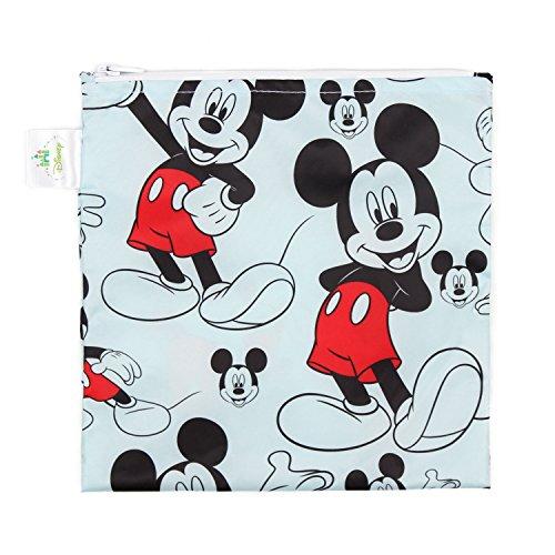 Bumkins Disney Mickey Mouse Sandwich Bag / Snack Bag, Reusable, Washable, Food Safe, BPA Free, 7x7