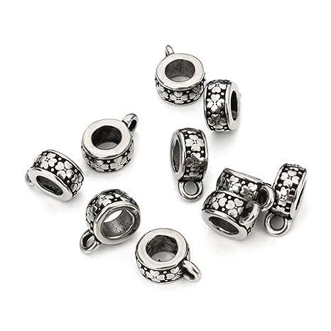 5pcs conectores de encanto pulsera flor colgante de acero ...