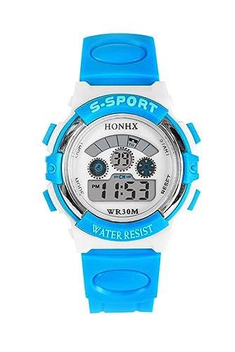 Reloj de pulsera - HONHX chicas jovenes Reloj de pulsera digital Reloj de multiples funciones Azul claro: Amazon.es: Relojes
