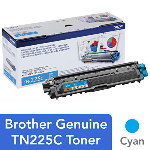 Brother Genuine High Yield Toner Cartridge, TN225C, Replacement Cyan Toner, Page Yield Up To 2,200 Pages, Amazon Dash Replenishment Cartridge, TN225