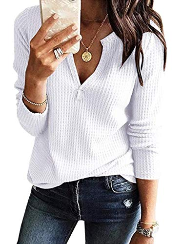 Famulily Womens Waffle Knit Tunic Blouse Casual Long Sleeve V Neck Tee Shirt White ()