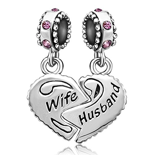 JMQJewelry Wife Heart Love Husband July Birthstone Charms Dangle Beads For Bracelets July Birthstone Heart Charm