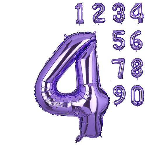 40 Inch Number 4 Balloons Big Purple Number Helium Foil Birthday Party Decorations Digit Balloons Mermaid -