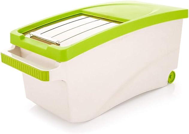 LIPINCMX Caja De Almacenamiento De Alimentos Secos con Contenedor Grande De Plástico Fresco con Ruedas Apta para Harina De Arroz Y Alimento para Mascotas 10kg Caja de Almacenamiento de arroz: Amazon.es: Hogar