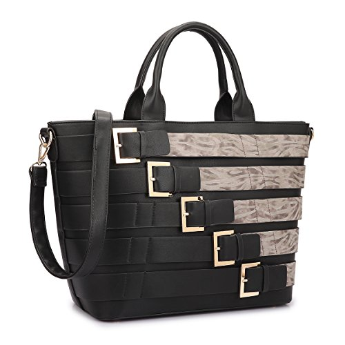 MKY Extra Large Tote Bag Designer Shoulder Handbag Buckle Details w/Removable Shoulder Strap Black/Taupe