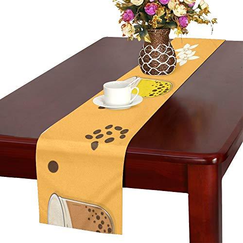 WJJSXKA Fruit Cup Dessert Hand Drawn Table Runner, Kitchen Dining Table Runner 16 X 72 Inch for Dinner Parties, Events, - Latte Table Runner Cafe