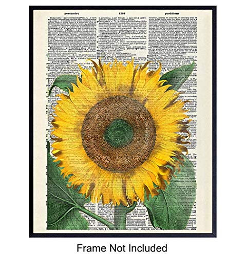 Sunflower On Photo of Dictionary Page - Unframed Wall Art Print - Great For Home Decor - Affordable and Easy Gift Giving - Ready to Frame (8x10) Photo (Print Sunflower)