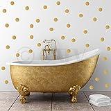 2x2 Set of 180 Polka Dot Circles vinyl lettering decal home decor wall art saying (Gold)