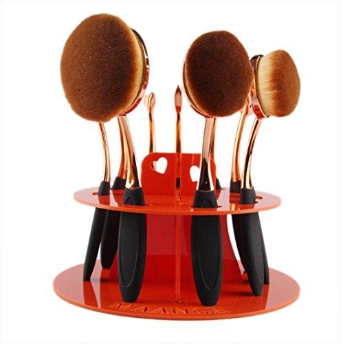 10 Holes Oval Makeup Brush Holder Drying Rack Organizer Cosm