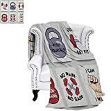 """FitnessDouble Personal blanketSet of Modern Cartoon Style Motivation Phrases Caricature Push Yourself Get FitAir Conditioning Blanket 62""""x60"""" Red Grey Black"""