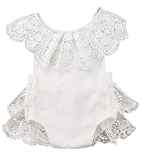 EGELEXY Infant Baby Girl Lace Floral Ruffles Baby Girl Romper Cake Sunsuit Outfits Size 18-24Months/Tag100 (White)
