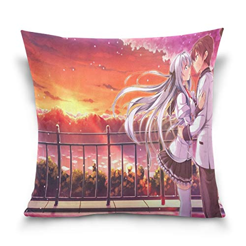 IDO Throw Pillow Covers Personalized Anime Love Wallpaper Polyester Square Hidden Zipper Decorative Valentine's Day Present/Gift Pillowcase 16