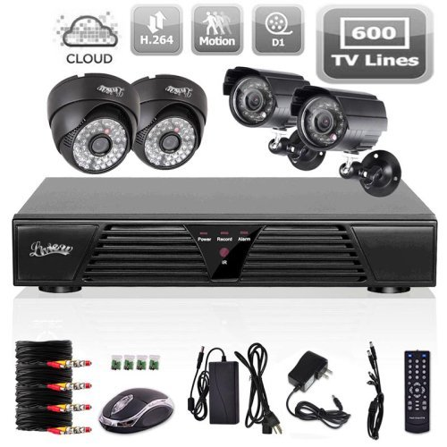 Liview 4CH CCTV Full D1 DVR Motion Detection 600TVL Outdoor Indoor Night Vision Camera System Home Security System Kits