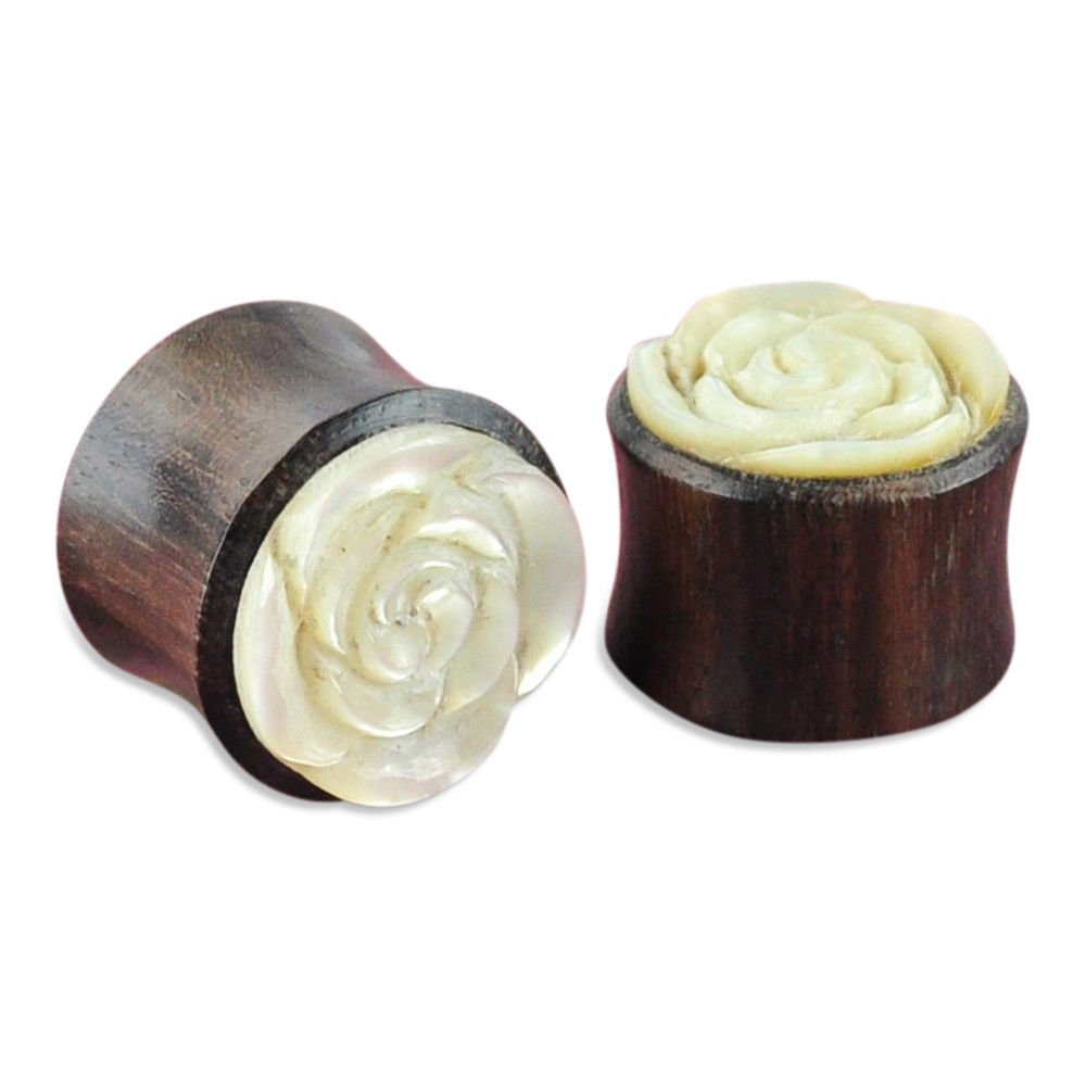 yati_gj 1 Pair Tamarind Wood and Shell Flower Plugs Ear Gauges 14 mm