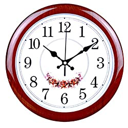 Foxtop 12-Inch Silent Large Wall Clock Decorative Living Room Clock - Battery Operated Quartz Movement Wall Clock Wood-look Frame - Round Floral White Dial Wall Clocks